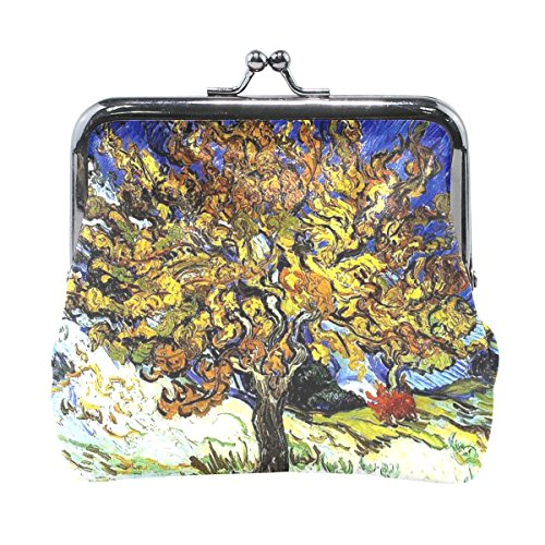 Vipsk Van Gogh Mulberry Tree PU Leather Wallet Card Holder Coin Purse Clutch Handbag (Clutch Mulberry)