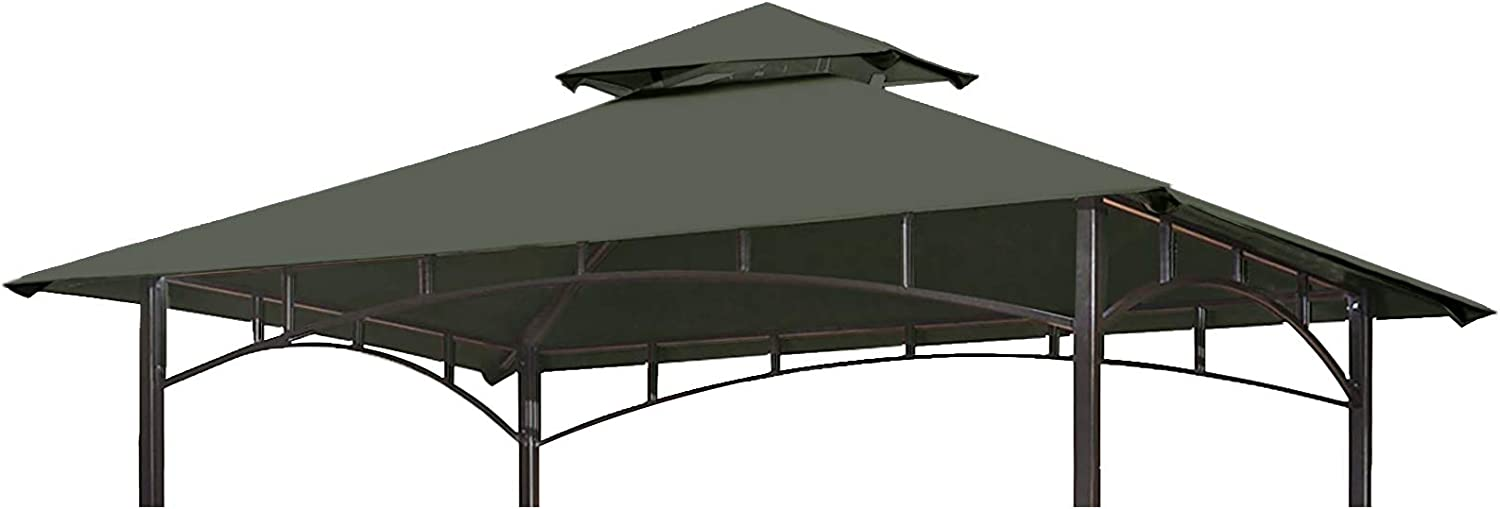Eurmax 5FT x 8FT Double Tiered Replacement Canopy Grill BBQ Gazebo Roof Top Gazebo Replacement Canopy Roof (Gray)