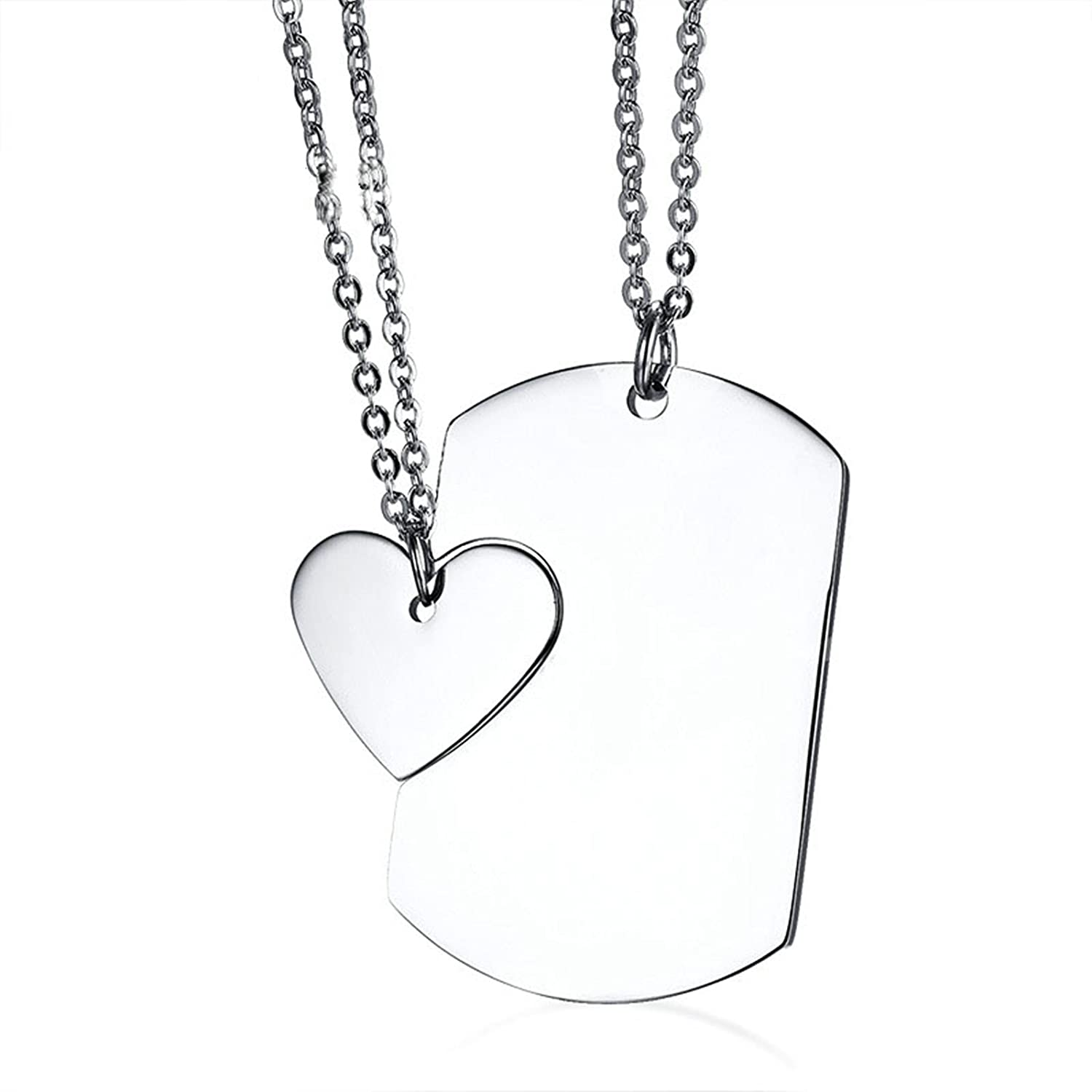 Bishilin Stainless Steel Necklace for Couple High Polished Heart Dog Tag Puzzle Pendant Silver