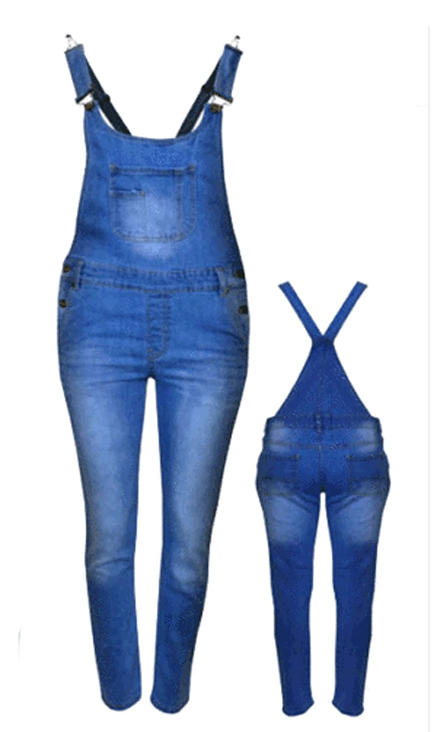 CELEBMODELOOK K81 Girls Dungaree Full Length Jumpsuit Pinafore Overall 7-14 Denim Kids Jeans