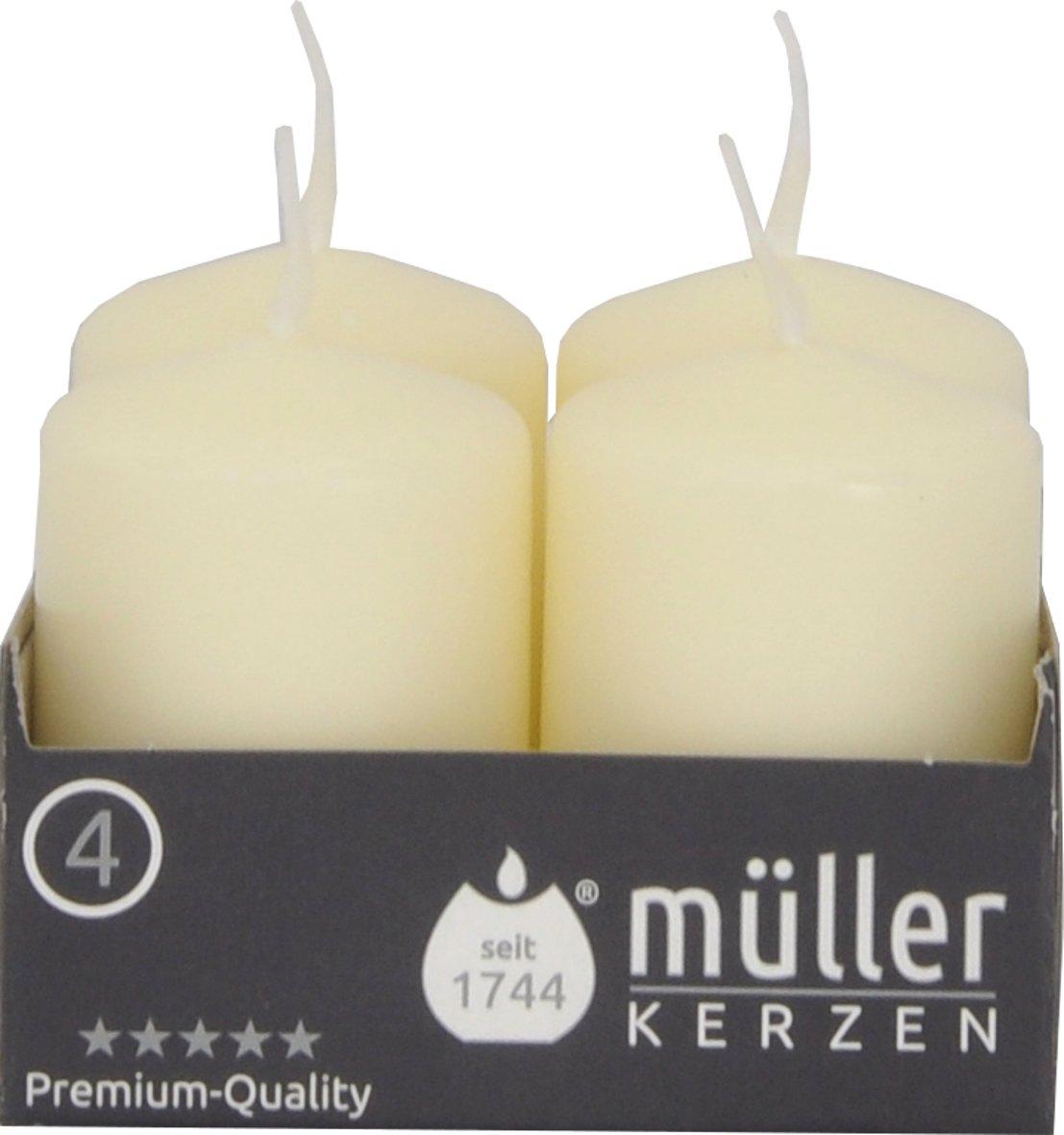 Müller Kerzen 2400624038 Set di candele a colonna, colore: Bianco, 4 pezzi