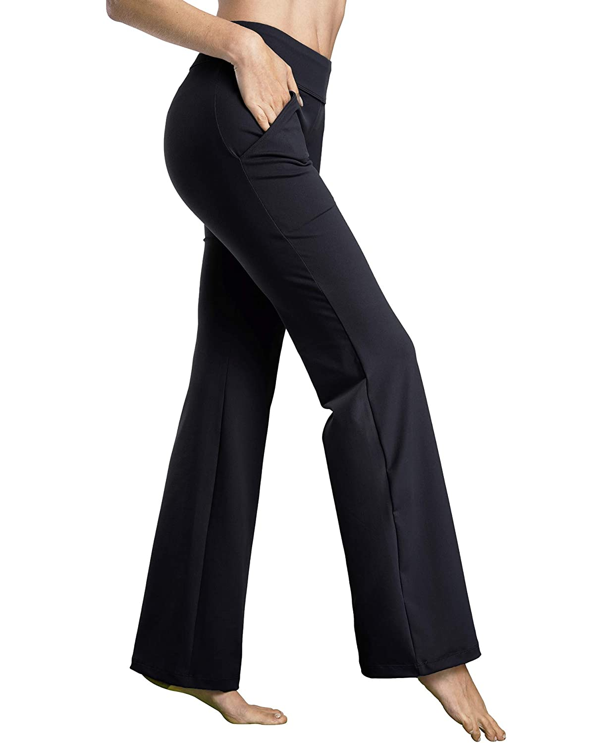 71853f43c Amazon.com: Bamans Womens Yoga Dress Pants Bootcut Leggings with Pockets  Petite to Plus Size Flared Stretch Workout Work Pants: Clothing