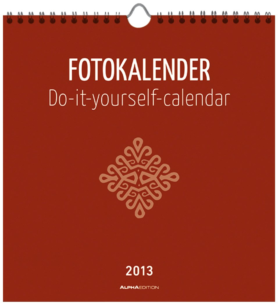Foto-Bastelkalender datiert, rot, 21 x 22 cm, Bastelkalender 2013