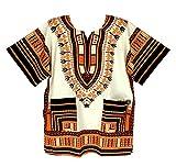Vipada Handmade's Traditional Dashiki Shirt for men and women White and Orange S