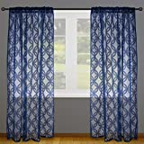 """DII Elegant Decorative Sheer Curtain, Panels, Window Treatments or Drape, For Small Windows, in Living Room, Kitchen, Bedroom, Kids Rooms, 50x63"""" (Set of 2) - Nautical Blue Lattice"""