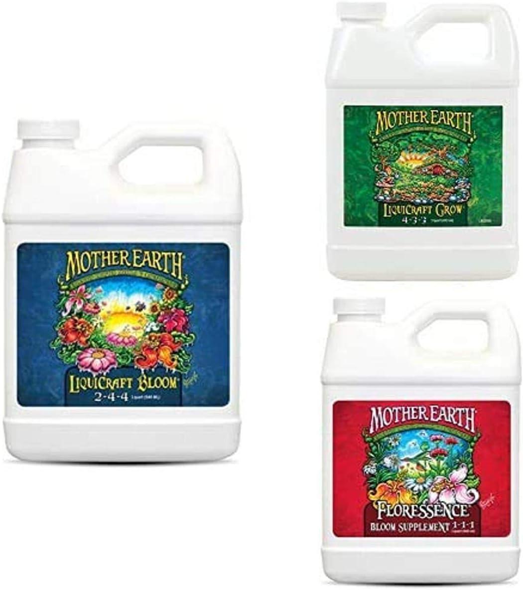 Mother Earth HGC733936 LiquiCraft Bloom 2-4-4 Liquid Fertilizer, Natural with LiquiCraft Grow 4-3-3 Liquid Fertilizer and Floressence Bloom Supplement 1-1-1 Liquid Fertilizer