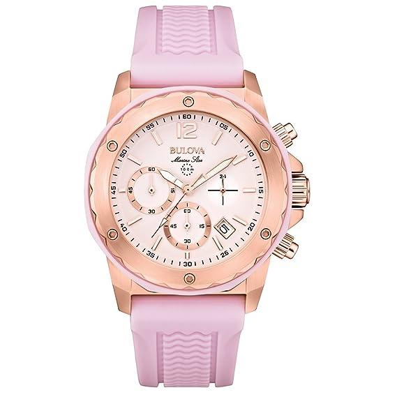 Bulova 98M118 - Reloj con correa de nylon para mujer, color rosa/gris: Amazon.es: Relojes