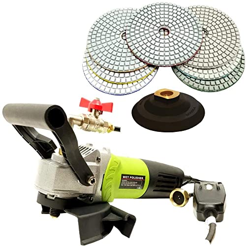 QuickT SPW702A Concrete Countertop Wet Polisher Variable Speed Grinder Sander Granite Stone Polisher Polishing Fabrication Tools Kit – 4 Diamond Polishing Pads for Concrete Granite Marble Tile Polish