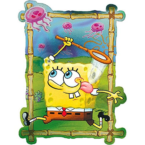 Amscan SpongeBob Jelly Fish Field Deluxe Jumbo Postcard Invitation (8 Piece), 8