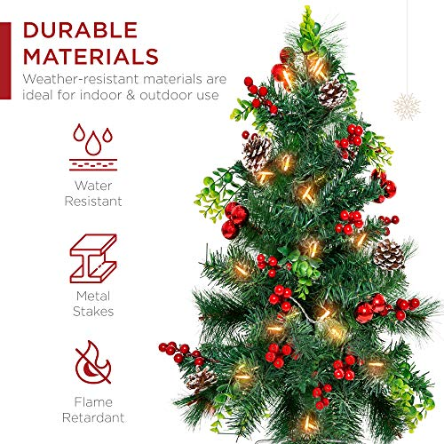 Best Choice Products Set of 2 24.5in Outdoor Battery Operated Pre-Lit Pathway Christmas Trees Holiday Décor for Driveway…