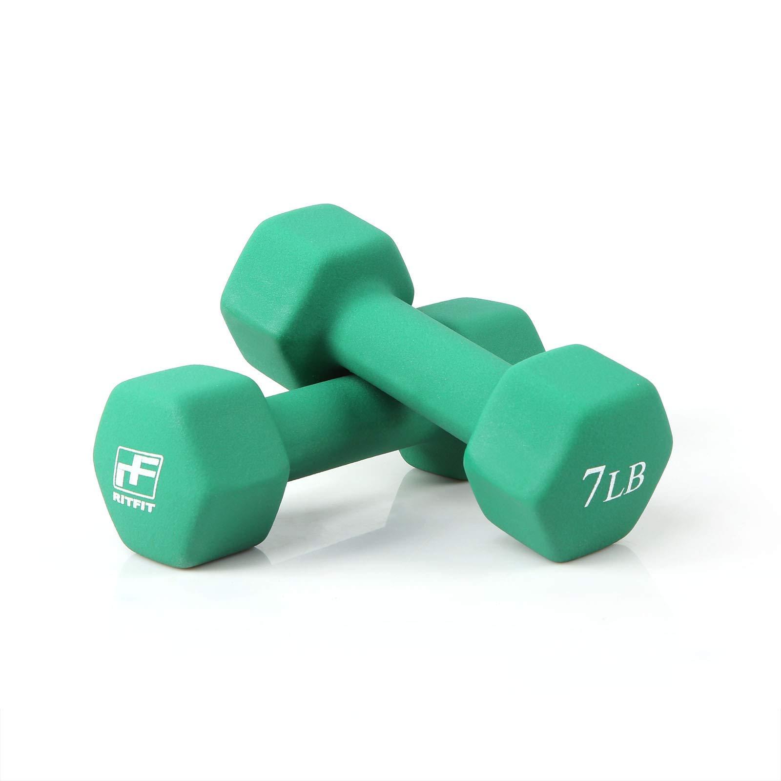 RitFit Set of Two Neoprene Dumbbells Coated for Non-Slip Grip, 1 lb-20 lb (7 Pound(Green))
