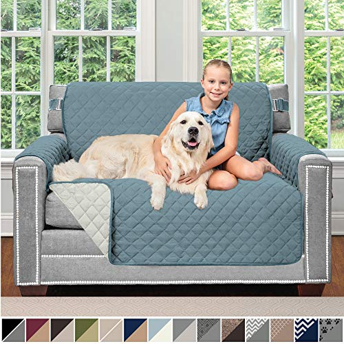 Sofa Shield Original Patent Pending Reversible Chair Protector for Seat Width up to 48 Inch, Furniture Slipcover, 2 Inch Strap, Chairs Slip Cover Throw for Pets, Kids, Cats, Armchair, Seafoam Cream