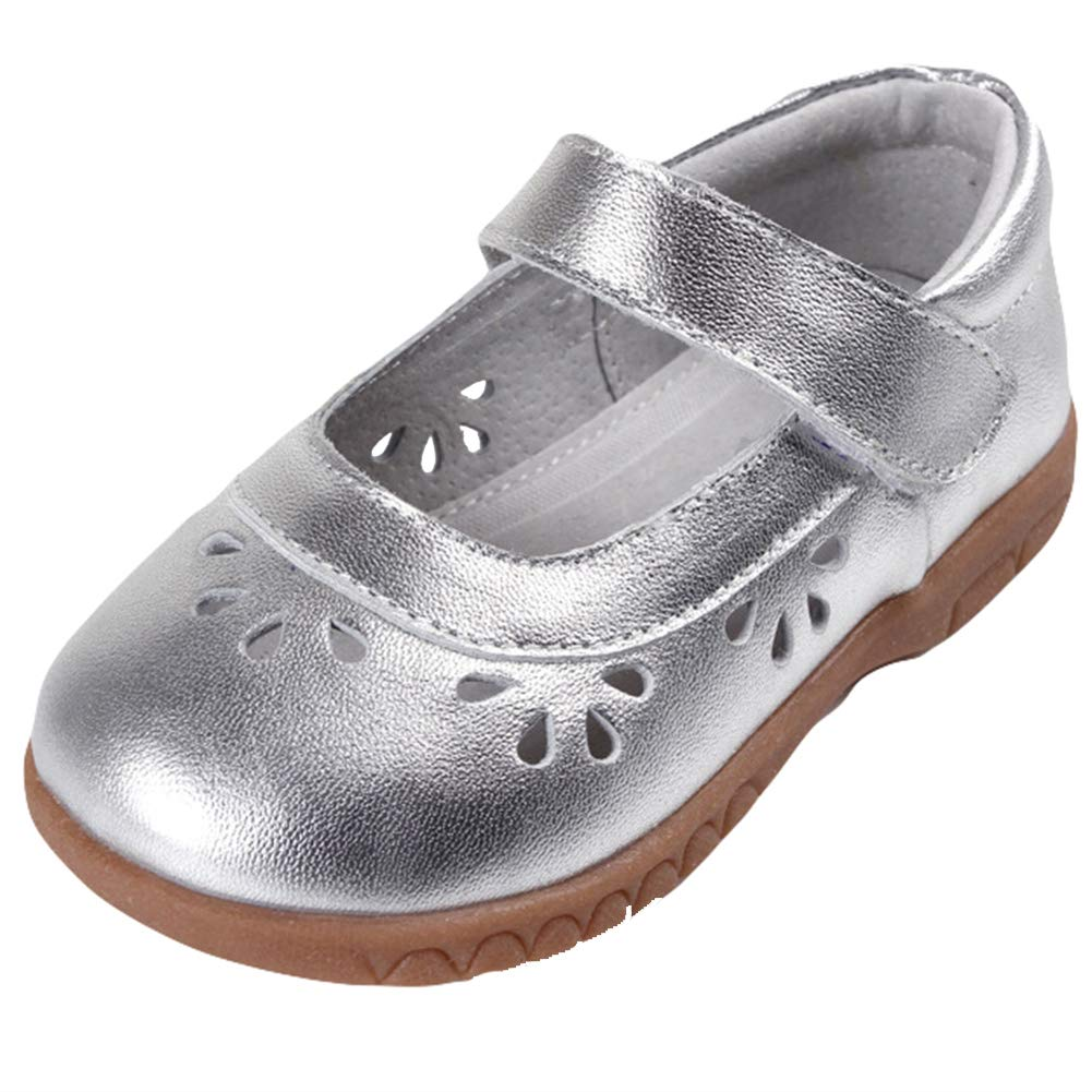 ONCEFIRST Girls Leather Hollow Out Design Soft Round Toe Princess Dress Mary Jane Flats Shoes