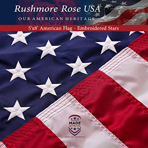 Flag Large (Rushmore Rose USA US Flag 5x8 ft: 100% Made in USA. Premium Large American Flag 5x8 ft. Embroidered Stars and Stitched Stripes US Banner - Display with Pride)