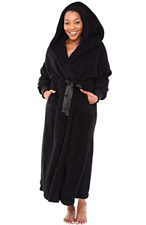 Honest Black Wool Full Length Housecoat Medium Robe Front Pockets Long Sleeve Duster Sleepwear & Robes