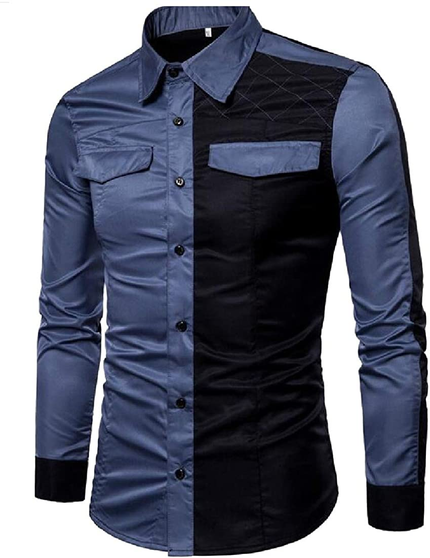 Winwinus Mens Button Down Long Sleeve Plaid Patched Contrast Casual Shirts