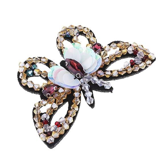 MagiDeal Parche de Mariposa Parche Decorativo Apliques Hecho a Mano Tela Etiqueta Bordado Insignia Ropa Ornamento - Oro: Amazon.es: Hogar