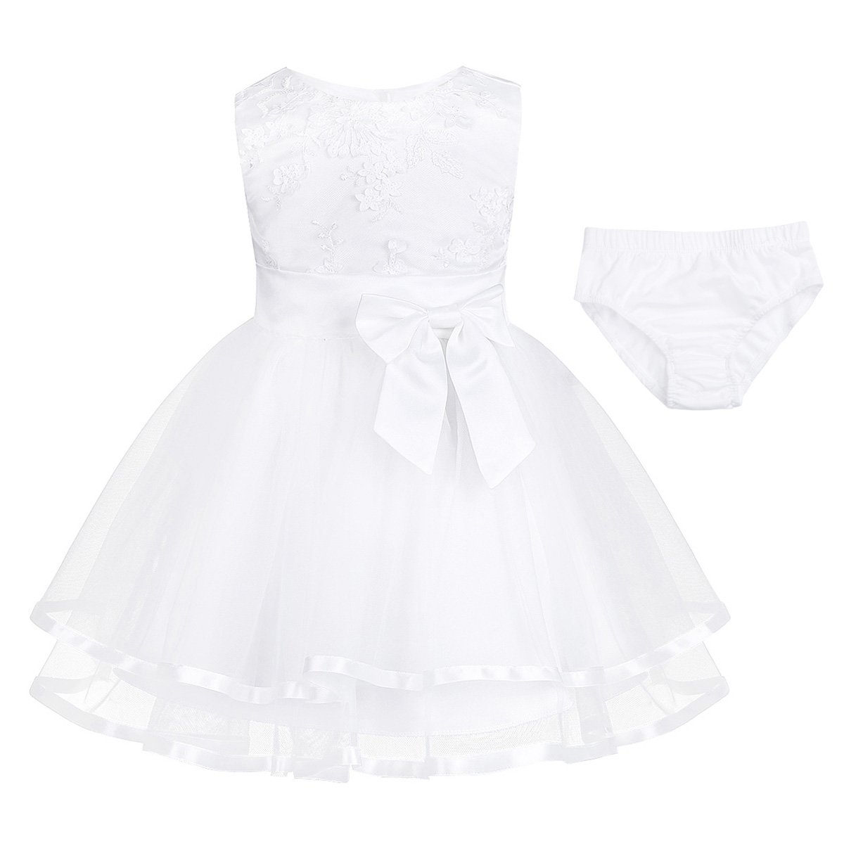 CHICTRY Infant Baby Girls Dress Embroidered Christening Baptism Gowns Flower Girl Dress with Bloomers