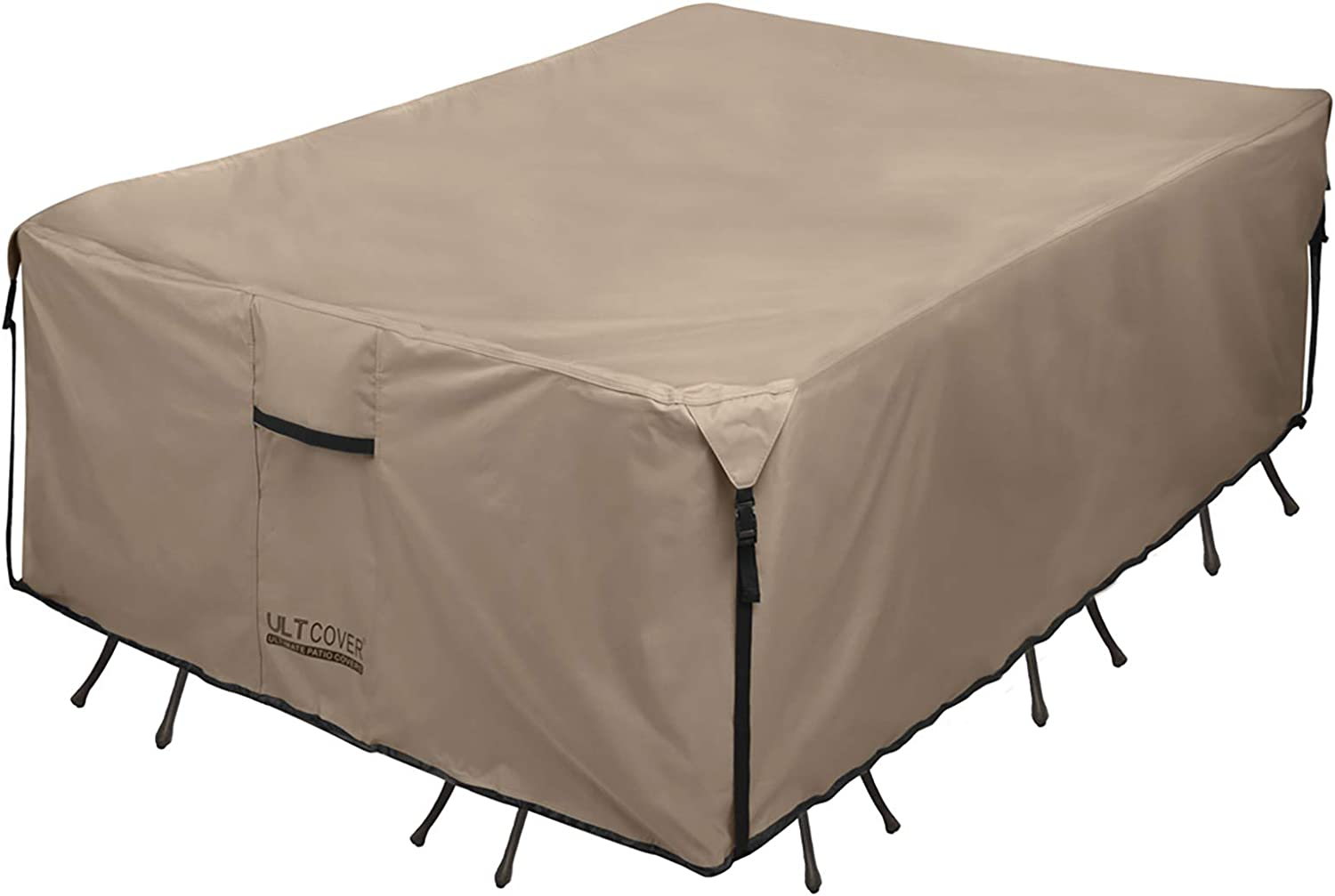 ULTCOVER Rectangular Patio Heavy Duty Table Cover - 600D Tough Canvas Waterproof Outdoor Dining Table and Chairs General Purpose Furniture Cover Size 88L x 62W x 28H inch : Garden & Outdoor