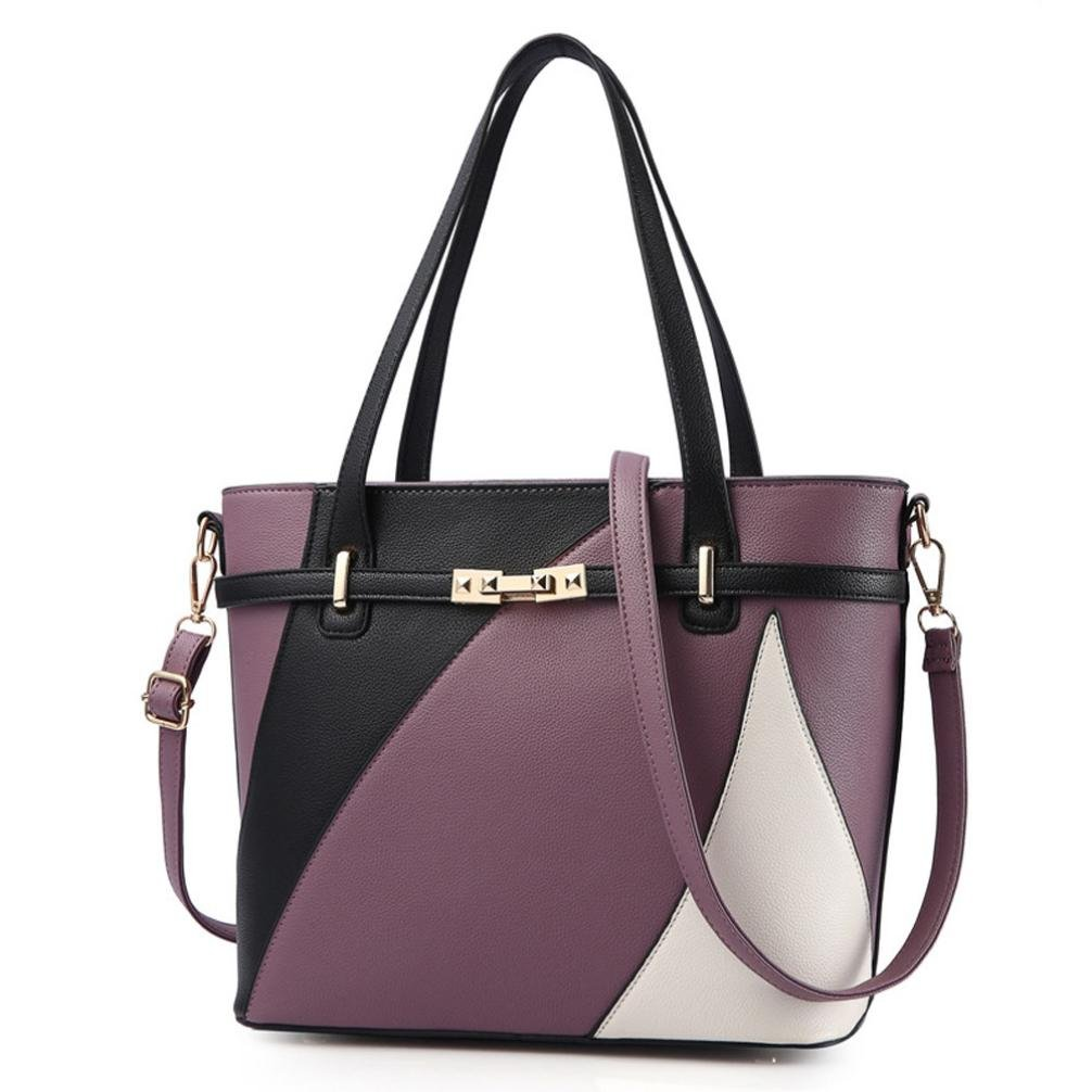 ❤️Women Shoulder Bag, Neartime Hot New Fashion 2018 Handbag Tote Patent PU Leather Embossed wallets (free, Purple)