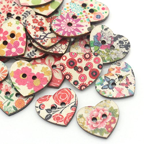 Sewing Heart - HOUSWEETY 100PCs Wood Sewing Buttons Scrapbooking Pattern Printed Heart Mixed 1