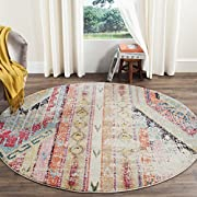 "Safavieh Monaco Collection MNC222F Modern Bohemian Multicolored Distressed Round Area Rug (67"" Diameter)"