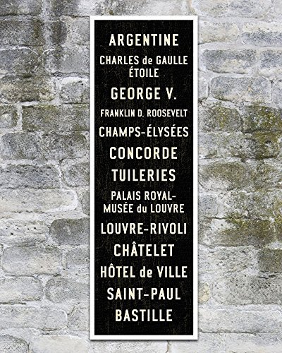 Paris Metro Sign, Subway Art Canvas, Paris Poster, French Home Décor. 12 x 36