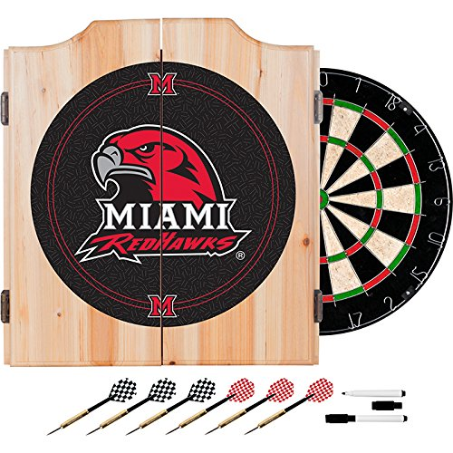 University of Miami, Ohio Deluxe Solid Wood Cabinet Complete Dart Set - Officially Licensed! by TMG