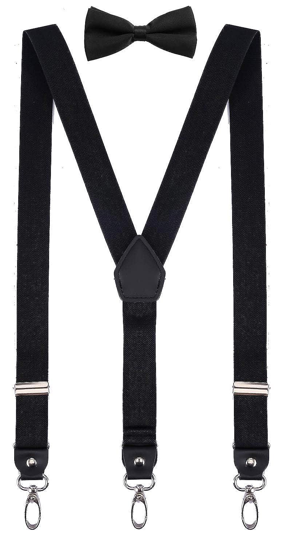 ORSKY Men Boys Suspenders and Bow Tie Adjustable Y Back with Hooks SGHar-skr