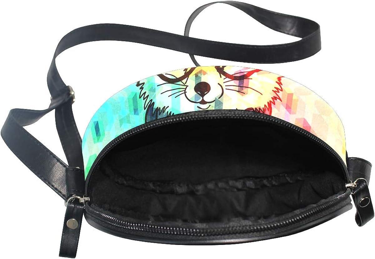 KEAKIA Hipster Fashion Fox Round Crossbody Bag Shoulder Sling Bag Handbag Purse Satchel Shoulder Bag for Kids Women