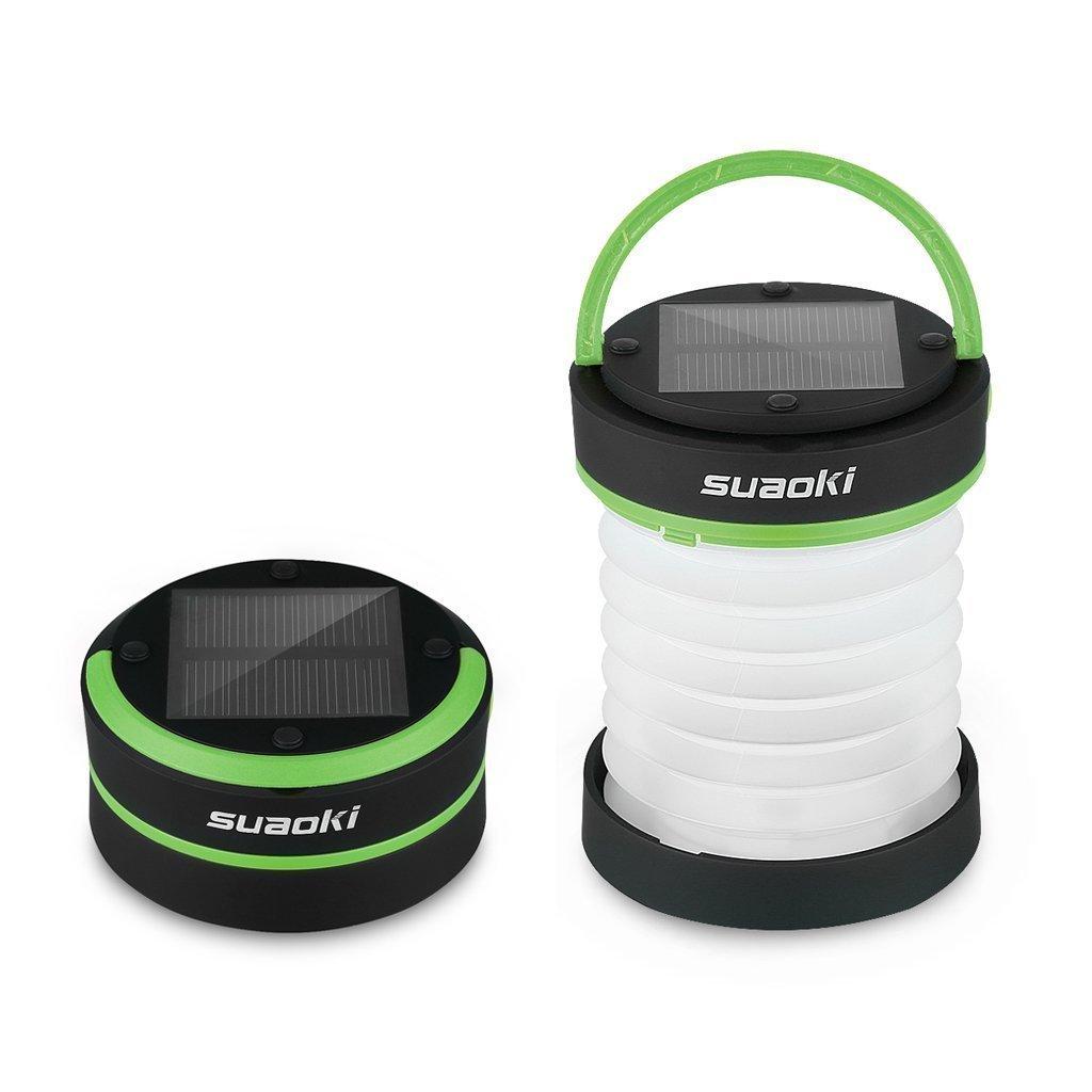 SUAOKI - Mini Linterna Camping LED Solar Ligera, Plegable y Impermeable (Recargable con luz Solar y USB, Acampada, Tienda de campaña)