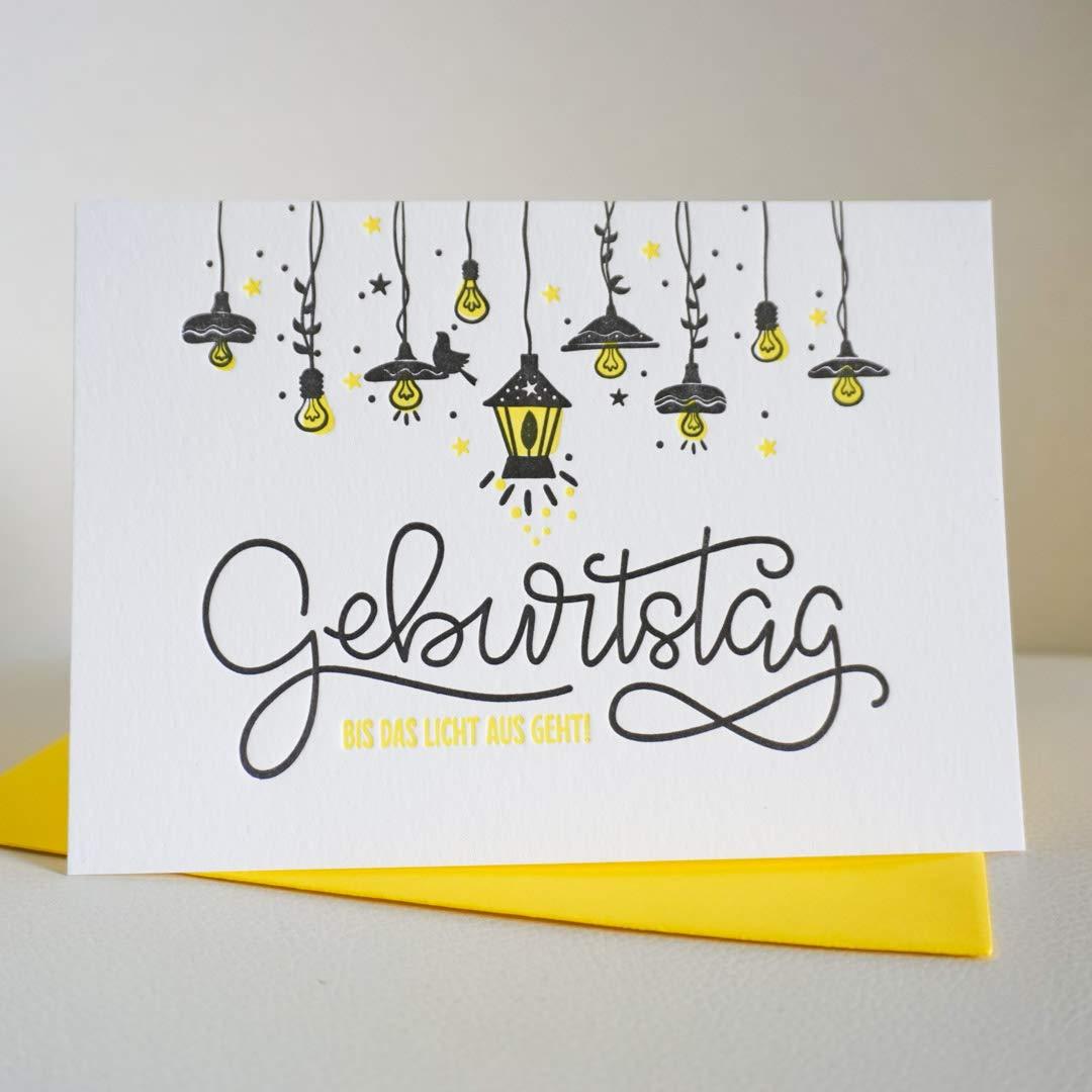 Geburtstag bis das Licht aus geht Lampions Geburtstagskarte vintage Letterpress Klappkarte Feuerwerk