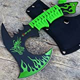 HUNT-DOWN 11'' Green Dragon Axe Outdoor Hunting Camping Survival Steel Axe | with Holt Multi Tool Key Chain