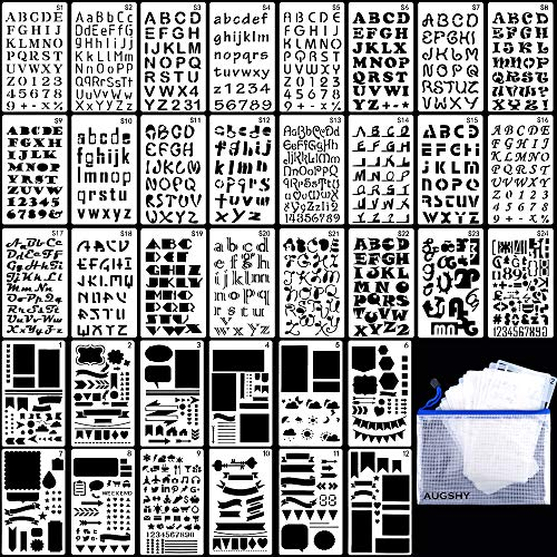 36PCs Letter and Number Stencils DIY Drawing Templates Journal Stencils with A Storage Bag for Notebook, Diary, -