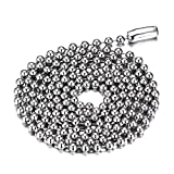 SINLEO Titanium Stainless Steel 2.4MM Small Beads Ball Chain Necklace for Men Women Silver 2.4MM 24 Inches