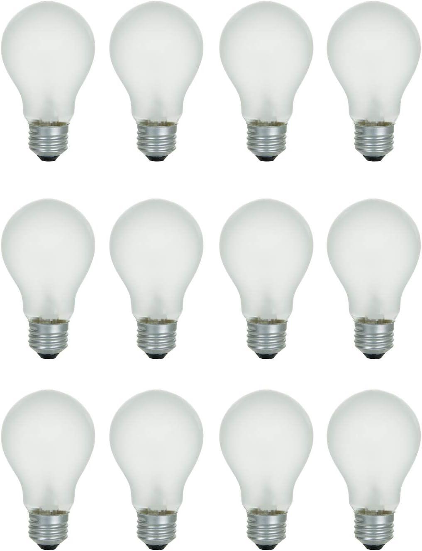A19 Frosted Incandescent Rough Service Light Bulb, 60 Watt, 2700K Soft White, E26 Medium Base, 550 Lumens, 130V (12 Pack)