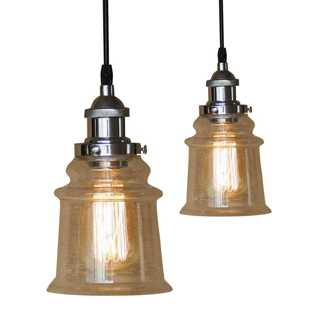 Industrial glass light fixtures motent 2pcs vintage simplicity clear glass cone shaped one light pendant light ceiling lamp shade set for basement balcony