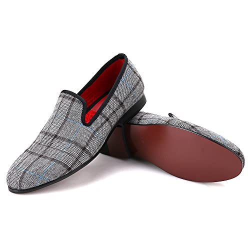 b45e4e2fc1b Plaid Grey Micah Casual Flat Men Dress Shoes Special Event (7)