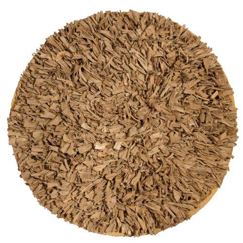 Premium Jersey T-Shirt Cotton Shag Rug 4' 9'' Round (BEIGE) (Shag Rug Jersey Area Cotton)