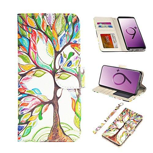 UrSpeedtekLive Galaxy S9 Plus Wallet Case Folio Flip Premium PU Leather Case Cover w/Card Holder Slot Pockets, Wrist Strap, Magnetic Closure Compatible Samsung Galaxy S9 Plus(2018),Love Tree