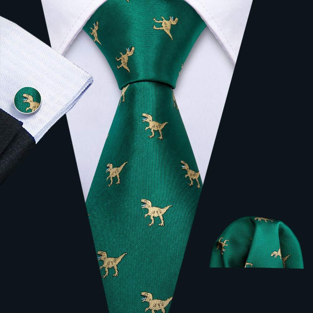 KDSXMLS Cravatte da Uomo in Dinosauro Cravatte da Uomo in Seta Verde Oro Cravatta da Sposa Fazzoletto da Regalo Set da Uomo Cravatte da Uomo