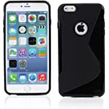 """Kit Me Out UK TPU Gel Case for Apple iPhone 6 Plus / 6S Plus 5.5"""" Inch - Black S Line Wave"""