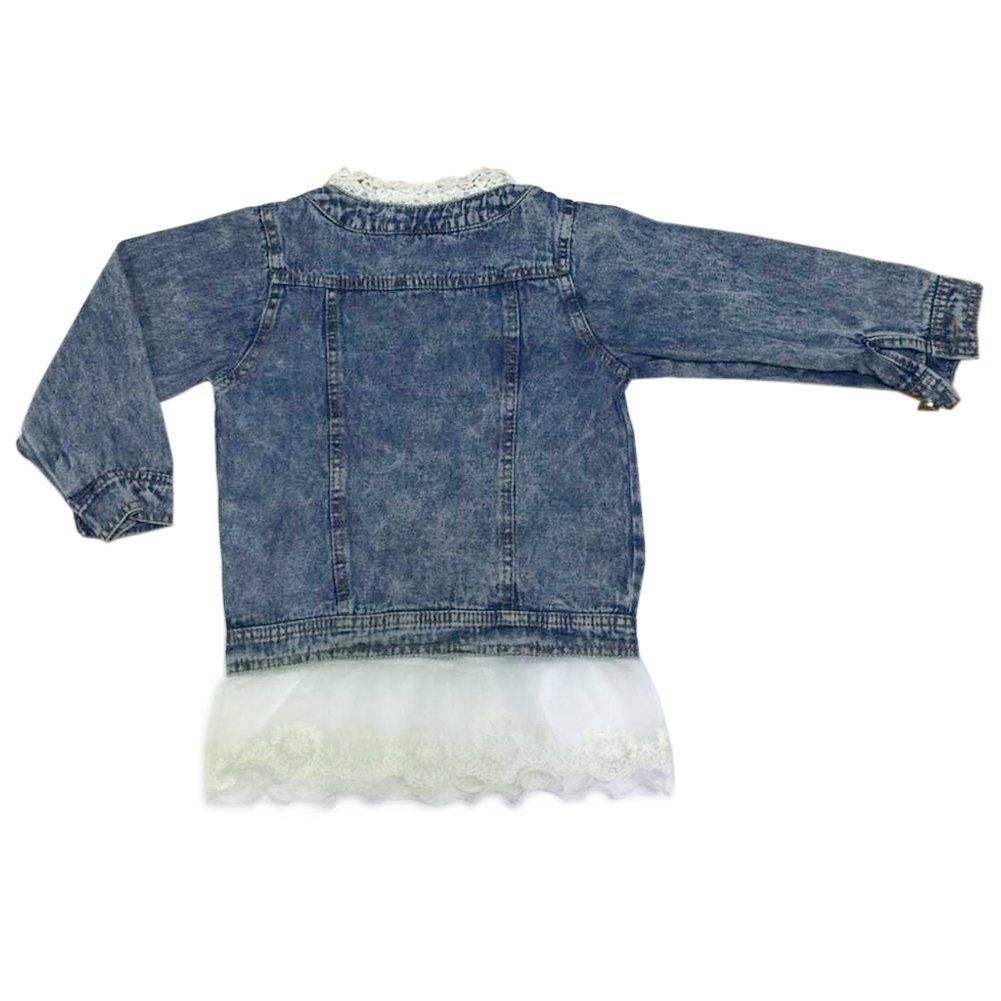 ZAKASA Girls Kids Baby Girls Denim Jean Jacket Lace Cowboy Jacket Outerwear Overcoat Dress Coat