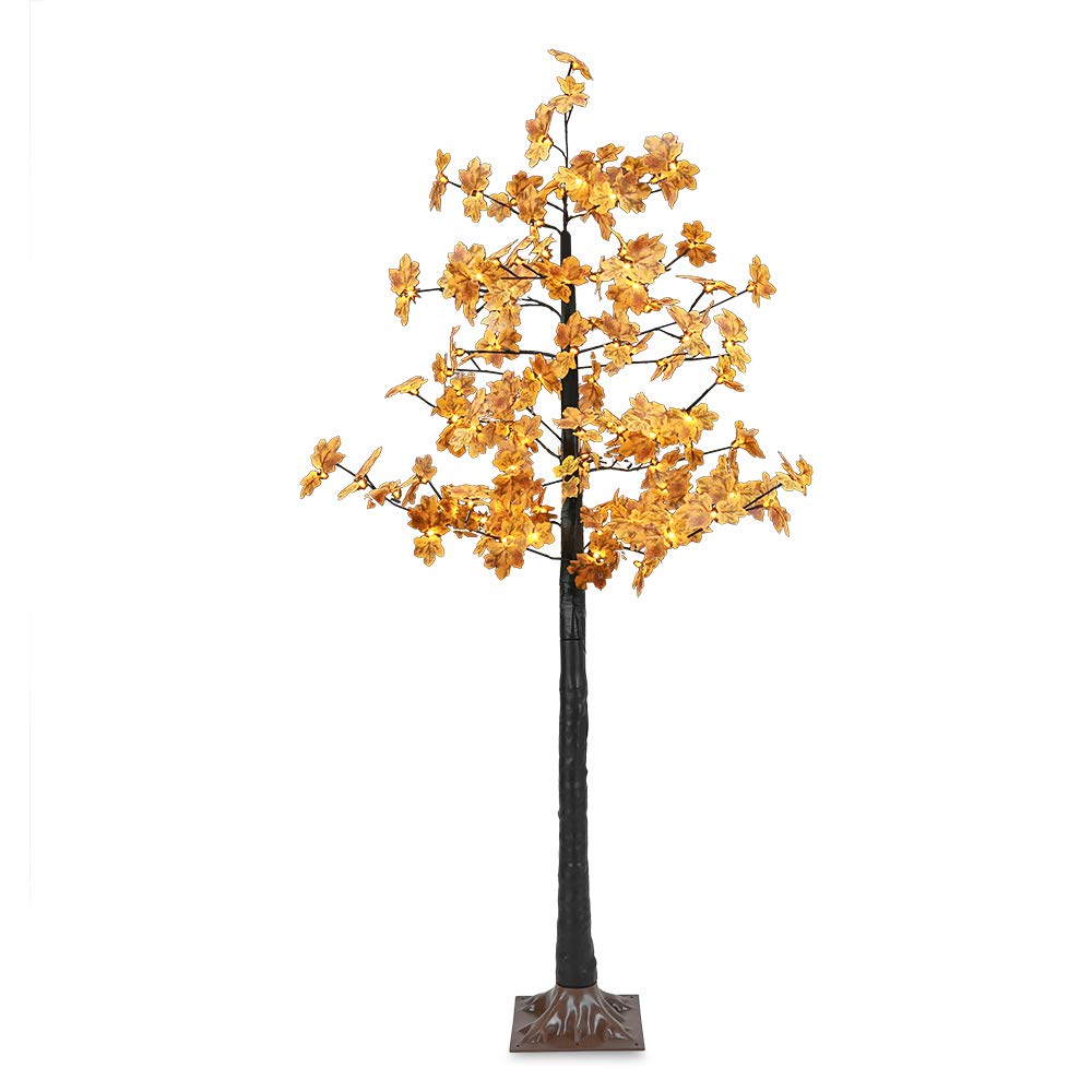 Artificial LED Maple Tree Light, LightMe 6FT 120 Warm White LED Lighted Maple Tree Lamp for Office, Home Patio, Garden, Festival, Party, Wedding, Christmas, Halloween Decor Indoor Outdoor (Bee Yellow)