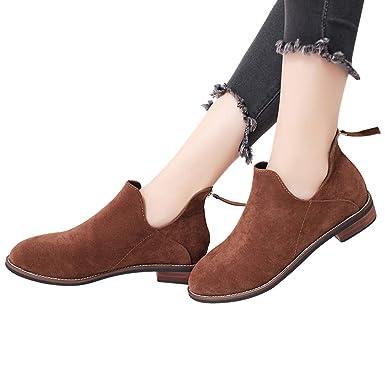 2fe2cfc5055bac TianWlio Boots Stiefel Schuhe Stiefeletten Frauen Herbst Winter Runde Zehen  Schuhe Pure Farbe Booties Reißverschluss Platz Hacke Schuhe Stiefel  Weihnachten  ...