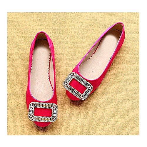 OCHENTA Mujeres Boda Zapatos Moda Ronda Rhinestone Rojo