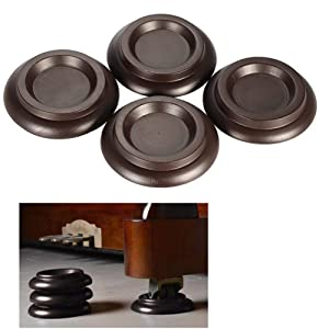 Piano Caster Cups,TOPCHANCES Premium 4 Pcs Upright Piano Caster Pads w/EVA Anti-Slip & Anti-Noise Foam Mat, Solid Wood Coasters Cups Piano Leg Pad for Upright Piano(Brown Hardwood Material)
