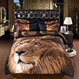 Powerful Lion Print 6-Piece Duvet Cover Sets, 3D Duvet Cover Sets Full Size, Queen Size, King Size Can Be Available (King)