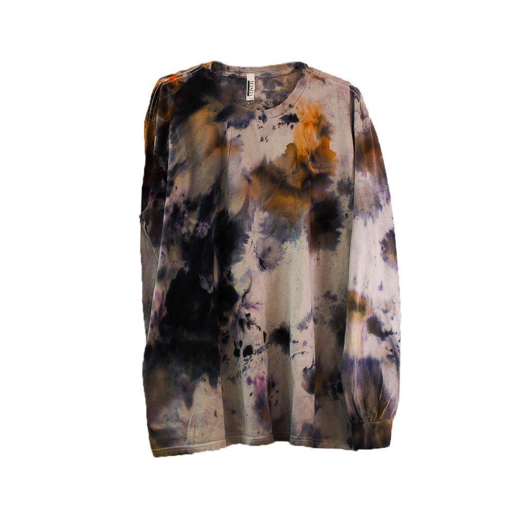 Pollock Black Tie Dye Long Sleeve Shirt Unisex Burning Man Festival Plus Size Top S, M, L, XL, XXL by Masha Apparel