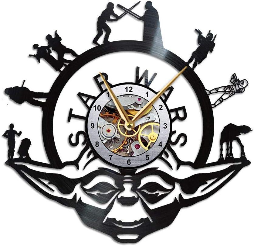 Yoda Wall Clock, Star Wars Birthday Gift for Dad Women Boyfriend Teacher, Merchandise & Memorabilia Stuff for Nerdy Geeks, Novelty Decorations & Ornaments for House, Home or Office, Vinyl Record
